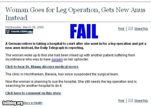 butts classic failboat leg medical mistakes oops Probably bad News surgery - 4662344704