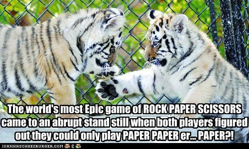 abrupt Babies baby caption captioned cub cubs epic epiphany FAIL game most only option options paper players realization rock paper scissors standstill tiger tigers world - 4662501376