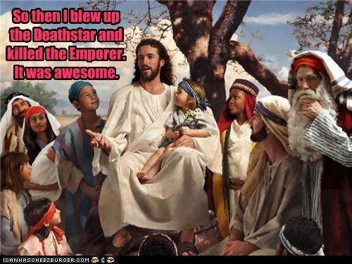 art color funny illustration jesus religion star wars - 4665028608