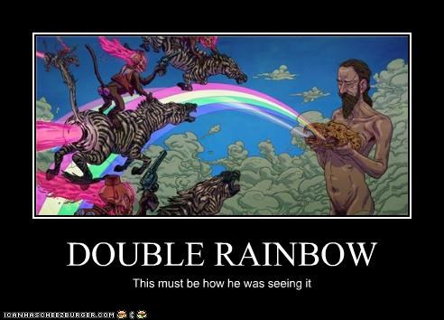 DOUBLE RAINBOW This must be how he was seeing it