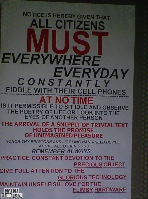cell phones,notes,sign of the,sign of the times,technology