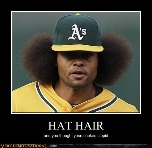 baseball hair hat hilarious wtf - 4668545024