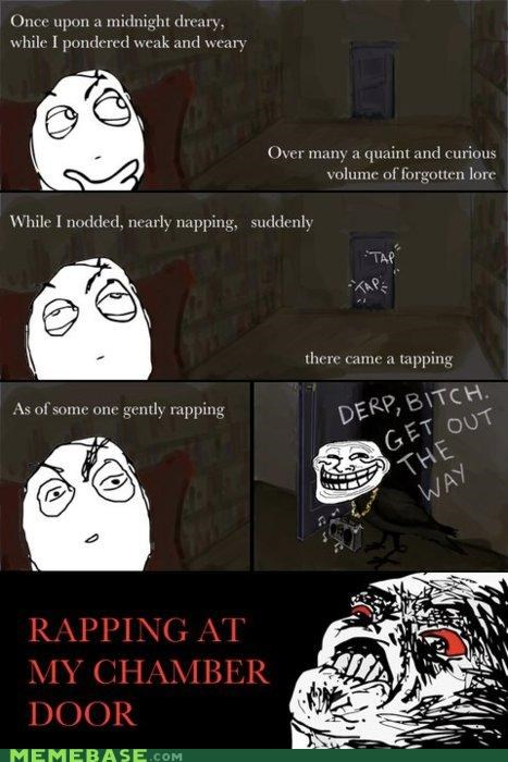chamber door,Rage Comics,rapping,raven,trollface