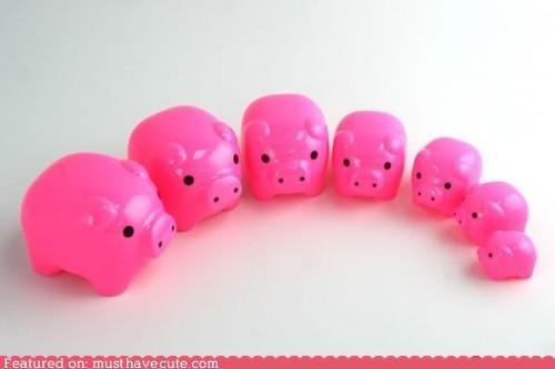 matryoska nesting dolls pig pink plastic - 4668633856