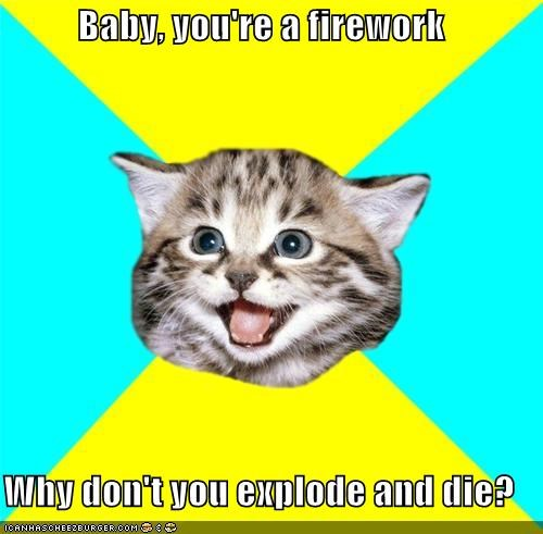 Baby, you're a firework Why don't you explode and die?