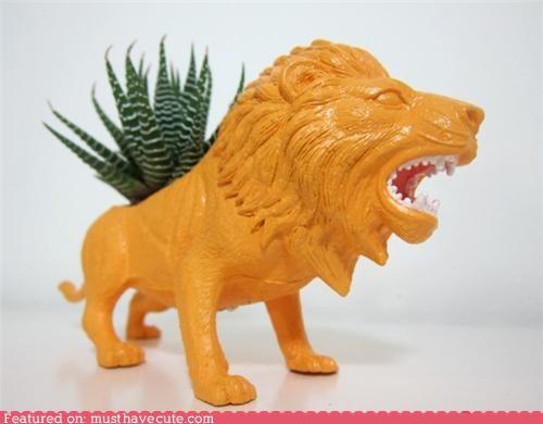 lion plant planter plastic rawr - 4668637184