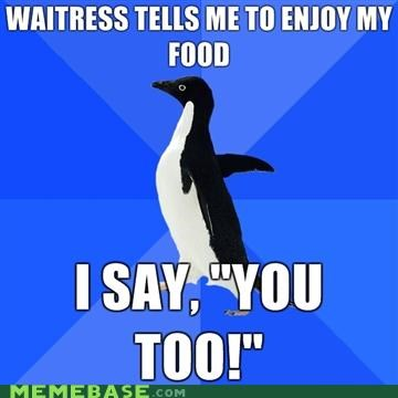 animemes,Awkward,eating,penguin,socially awkward penguin,you too