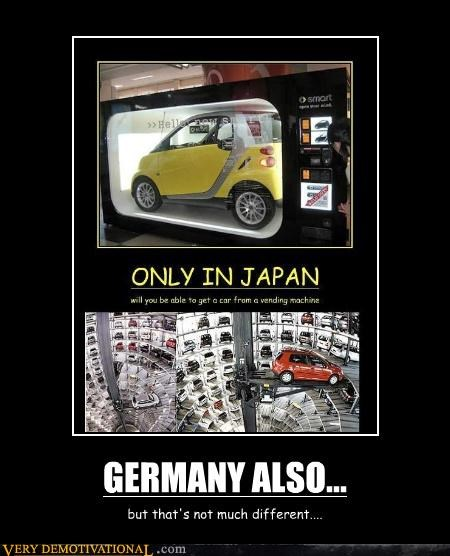 car different Germany Japan vending machine