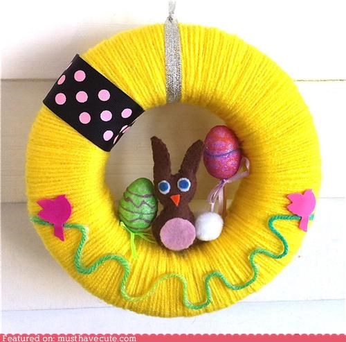 birds bunny decor easter felt ribbon wreath yarn