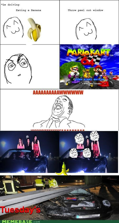 banana,FRIDAY,Mario Kart,Rage Comics,Rebecca Black,tuesday