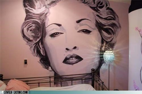 420,face,huge,Madonna,mural,paint,stoned,wall
