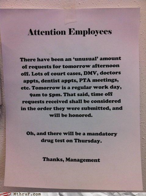 awesome drugs are bad employee note