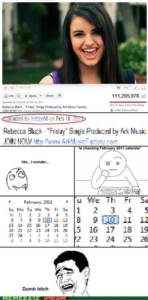 early,FRIDAY,Rage Comics,Rebecca Black,Thursday