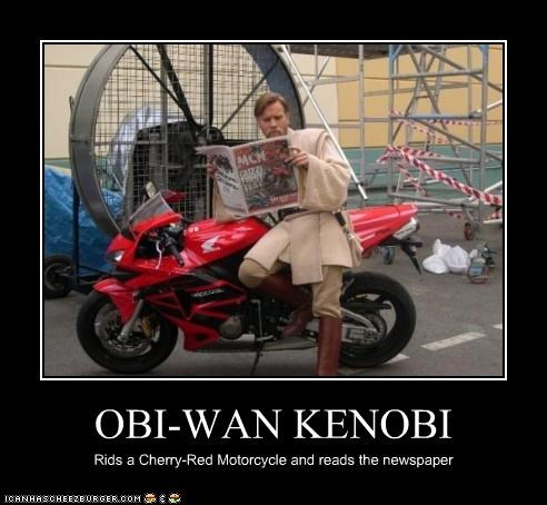 OBI-WAN KENOBI Rids a Cherry-Red Motorcycle and reads the newspaper