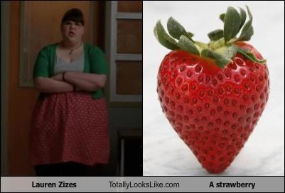 actresses glee fruit Lauren Zizes strawberry