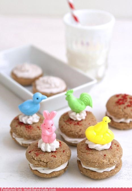 bunnies,chicks,cream cheese,easter,epicute,strawberry,whoopie pies