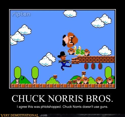 CHUCK NORRIS BROS. I agree this was phtotshopped. Chuck Norris doesn't use guns.