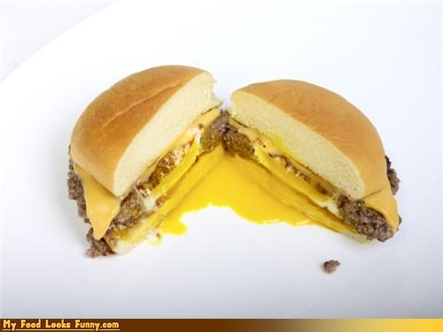 burger cheese cheeseburger egg hidden surprise - 4675350784