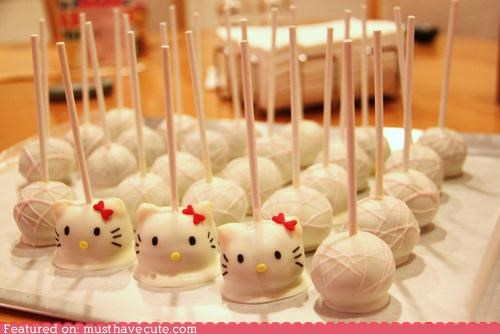 bow,cake pops,epicute,face,hello kitty,white chocolate