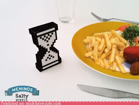 food,hourglass,pixelated,salt,salt shaker,table