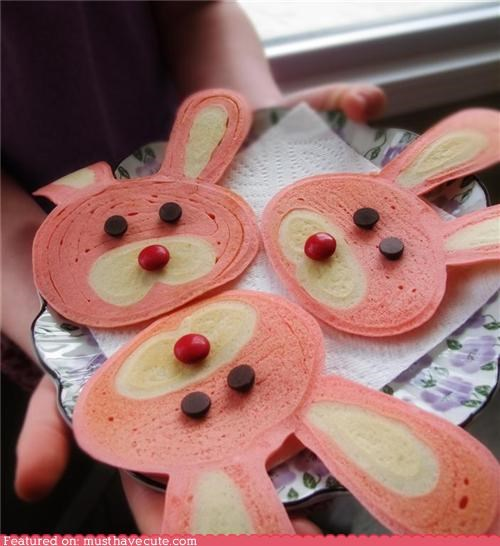 bunnies candy ears easter epicute faces pancakes pink - 4675403776