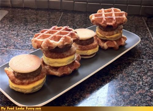bacon breakfast burgers eggs pancakes sliders waffles - 4675411456
