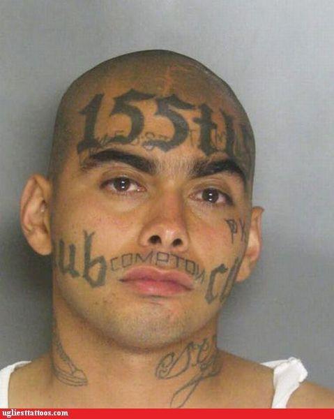 face tats hometown pride mug shots numbers prison tats words - 4675925760