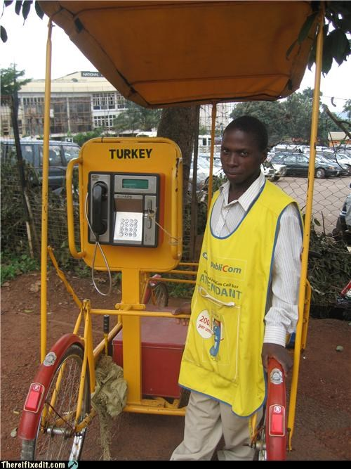 africa,bicycle,cell phone,dual use,payphone