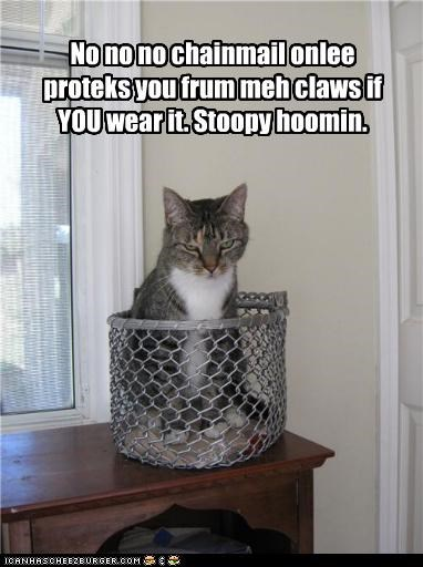 caption,captioned,cat,chain,chain mail,claws,conditional,explanation,function,human,protection,protects,purpose,stupid,works