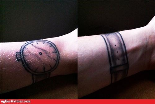 watches,tattoos,funny,g rated,Ugliest Tattoos