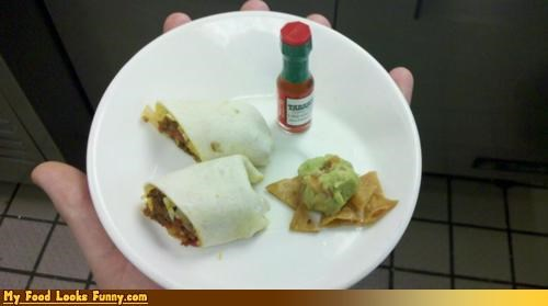 burrito,chips,guacamole,miniature,small,tiny