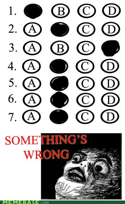 bubbles happen Rage Comics scantron test wrong - 4679045888