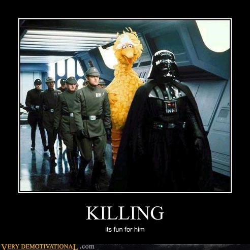 big bird,darth vader,Sesame Street,star wars,wtf