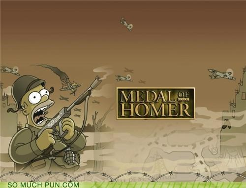 franchise,homer,literalism,medal of honor,the simpsons,video game
