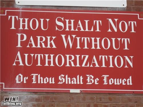 church,no parking,religioun,sign