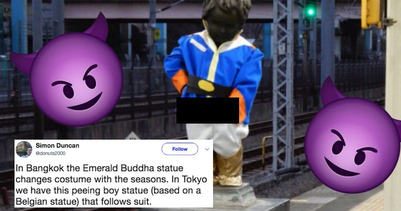 People are sharing pictures of a hilarious Japanese statue that pees out water.