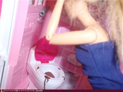 Barbie,bathroom,flush,ken,poop