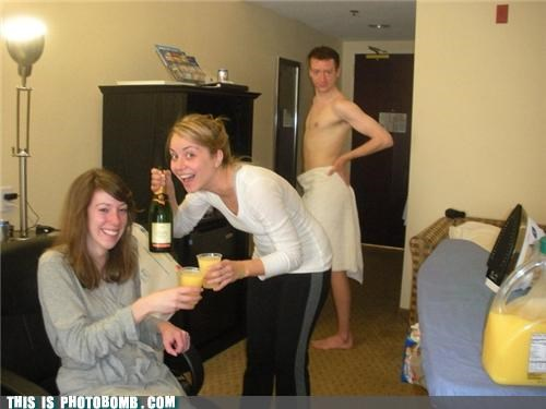 Awkward drinking hotel naked guy towel