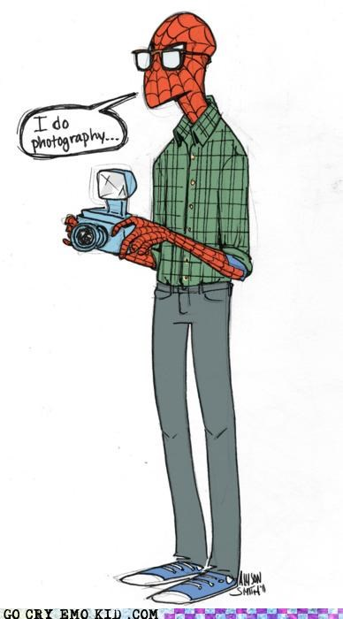 hipsterlulz hipsters photography Spider-Man superheroes - 4682353920