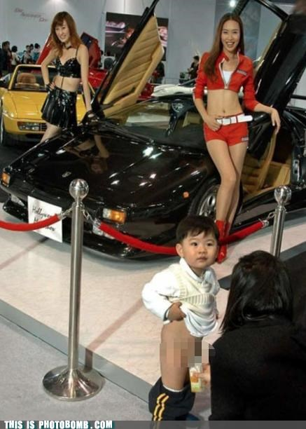 Awkward car show hot girls kid peeing - 4682540288