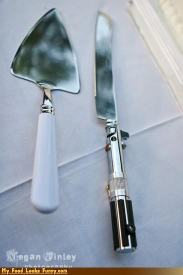 cake knife geeky light saber star wars utensil wedding