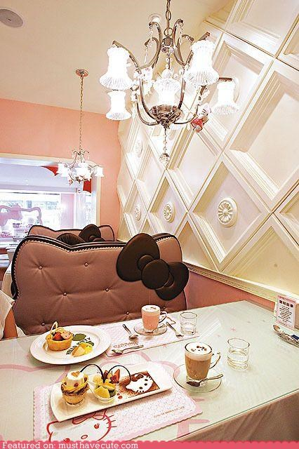 booths decor food girly hello kitty restaurant