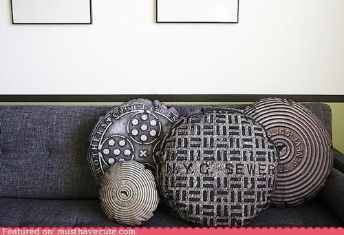 couch decor manhole cover Pillow throw pillow