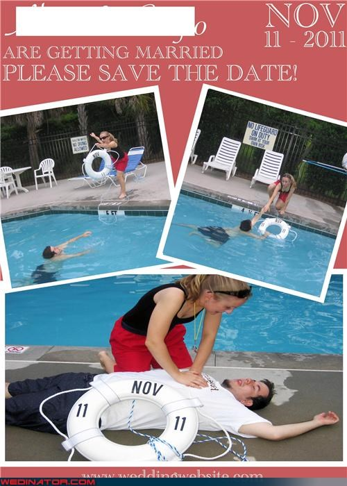 funny wedding photos life guard save the date