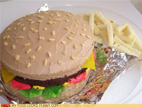 burger,cake,chocolate,fries,frosting