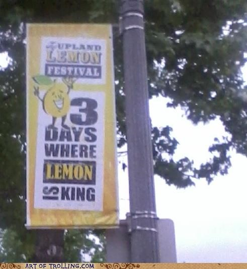festival,IRL,lemon,lemon party,sign