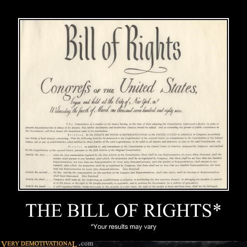 THE BILL OF RIGHTS* *Your results may vary