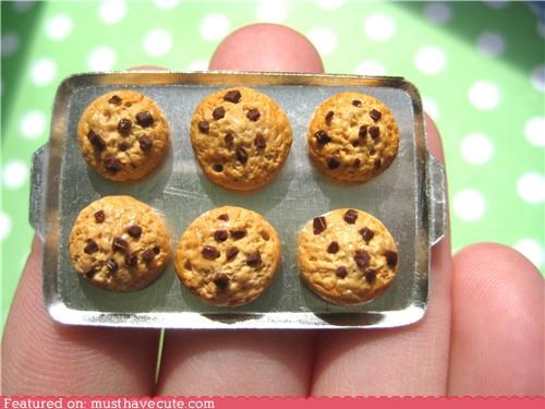 chocolate chip,cookie sheet,cookies,miniature,tiny