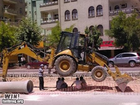 awesome at work,clever,construction,front loader,shade