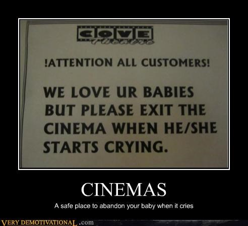 abandon baby cinema hilarious sign
